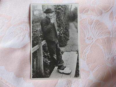 Old B&w Photo Pc Old Man With Pipe, Wooden Shoes, Zeeland, Netherlands
