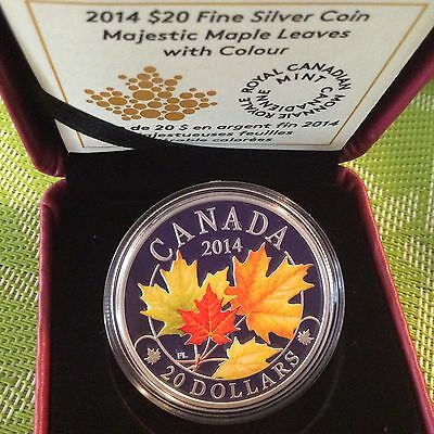 Canada 2014 $20 1oz Silver Coin MAJESTIC MAPLE LEAVES Coloured 99-CENT AUCTION