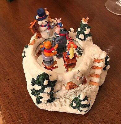 Winnie the Pooh Musical Christmas Figurines, Spinning Characters on Ice, NO box.