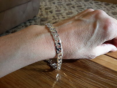 Brand new Silver plated 925 stamped 8mm curb bracelet with gift box