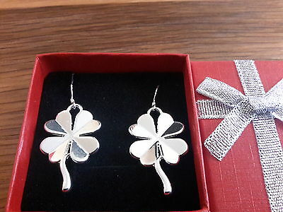 Brand new silver plated 925 stamped clover earrings and gift box