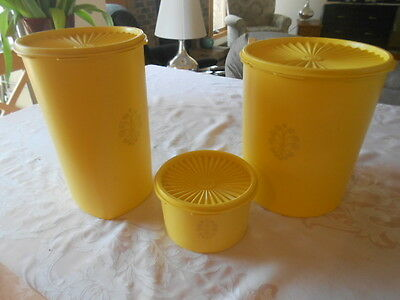 Vintage Tupperware 3 piece Canisters Bright Yellow Great Condition