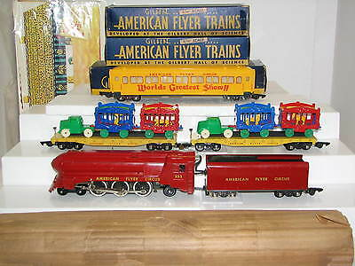 AMERICAN FLYER 5002T CIRCUS SET w/LOADS, CUTOUTS, INDIVIDUAL BOXES -Super