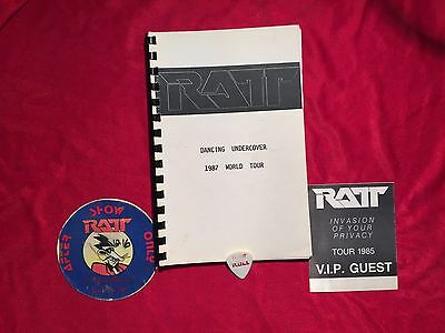 Ratt Dancing Undercover 1987 Itinerary Plus Backstage Passes And Guitar Pick