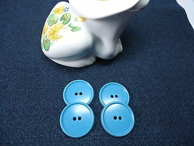 Vintage Large Round Flat Peacock Blue Buttons-Qty 4
