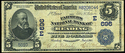 $5.00 1902 DATE BACK Farmers National Bank Reading PA ch 696 *LOOK** NO RESERVE
