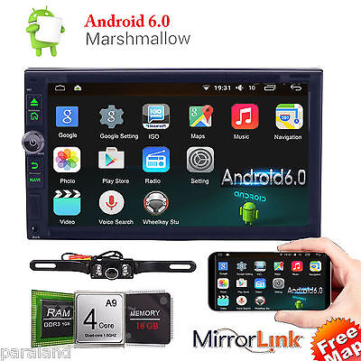 "Quad-Core 7"" Android 6.0 Marshmallow 2-DIN Car GPS Stereo DVD Player 3g WiFi USB"