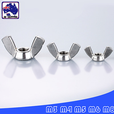 10pcs Wingnuts Butterfly Wing Nuts M3 M4 M5 M6 M8 DN315 Stainless Steel TEBO528