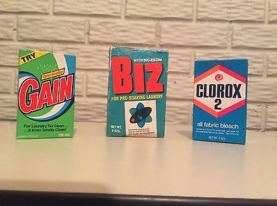 Qty 3 Biz, Clorox 2 & Gain  Detergent Sample Boxes Full Vintage 1960s 1970s