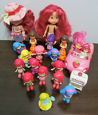 Strawberry Shortcake MIXED Lot - Car, Oven and 21 Dolls Little Doll Figures
