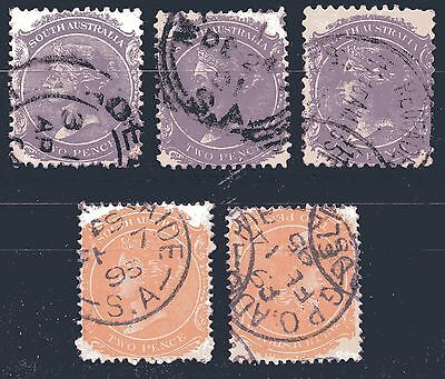Sth. AUST. -  (5 no) used stamps with duplication.  see scan