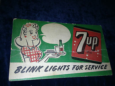 Antique 7Up Sign Soda Car Hop Blink Lights For Service Carhop 1930S-1940S