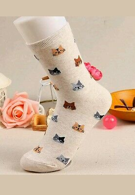 New  !!     Womens   Cat Design Cotton Socks   Cream White
