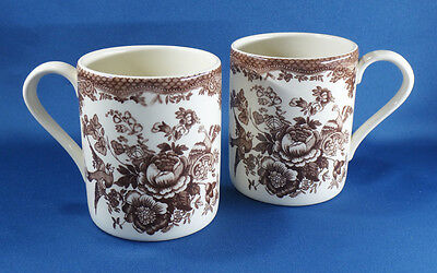 2 Victorian style BROWN TRANSFER MUGS pottery ENGLAND Chelsea bird pheasant