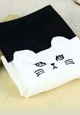 Womens   Supersoft Cotton  3D   Cat Face  Socks    Black / White  Face      New