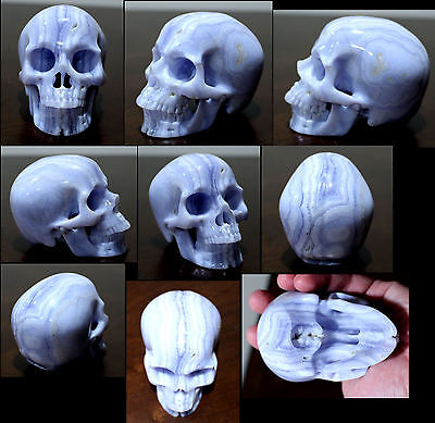 Namibia BLUE LACE AGATE - Carved Crystal Skull