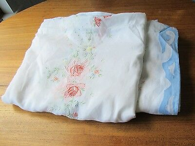 Vintage Huge Madeira Tablecloth 17 Ft Long Organdy Roses Embroidery Blue Trim