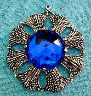 ANTIQUE Brooch Silver Tone Blue Gemstone Center 2.5""