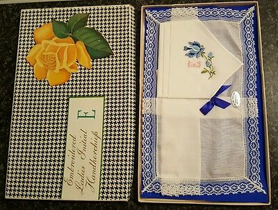 Vintage Boxed 2 Ladies Handkerchiefs - 1 Lace Edged, 1 Embroidered initailed E
