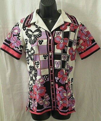 Vintage 70s Floral Disco Shirt Fairfield Small