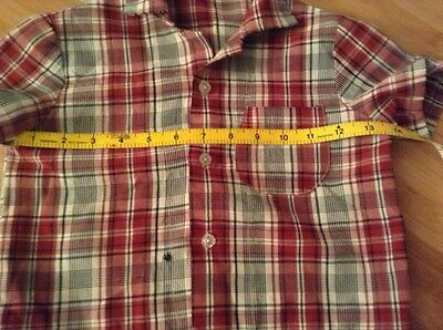 "Boys Rockabilly Shirt Vtg 50s Red White Black Plaid Costume DAMAGED 28"" C"