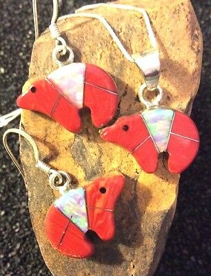 Native American Sterling Silver Red Coral Zuni Bear Neckace & Matching Earrings