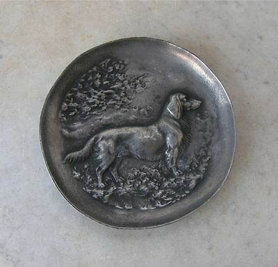 PEWTER DOG PLATE Dish Irish English Setter 3-D Profile Embossed Canine Signed