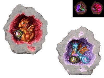 Blue Dragon statue in light up purple crystal geode cave, Great Gift!