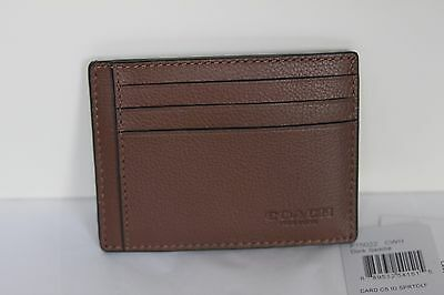 Authentic Coach Men Leather ID Card Case Saddle New With Tag $75 Free Ship