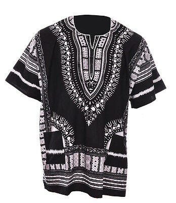 Black Traditional African Print Unisex Dashiki Shirt DP3578ML