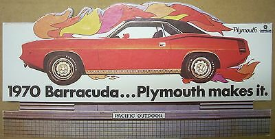 1970 Plymouth Cuda Barracuda Makes It 426 Hemi Dealer Desk Top Billboard Mopar
