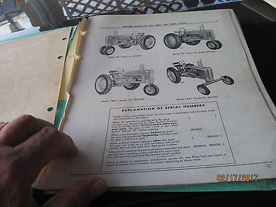 Vintage John Deere Tractor Parts Catalog B BN BNH BW BWH Styled