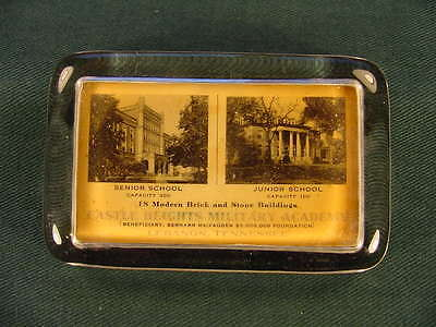 Vintage Castle Heights Military Academy Lebanon Tennessee Glass Paperweight
