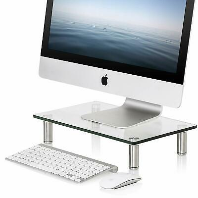 FITUEYES Glass Monitor Stand Laptop Computer TV Screen Riser Height Adjust Clear