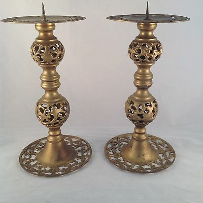 Set Of 2 SOLID BRASS Moroccan LARGE CANDLESTICKS Pillar Candle Holders BOHEMIAN
