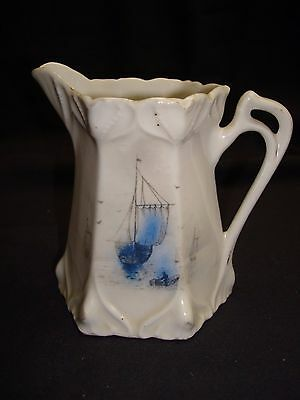 """VINTAGE  MILK PITCHER W/ SAILING SHIPS  4"""" tall made in GERMANY"""