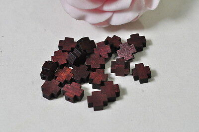 30pcs Wood Cross Charm Pendant Natural Wooden Necklace Craft Red Brown Finished
