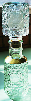 Black Douglas Glass And Gold Decanter Set. 29Cm Tall. Retro And Vintage.
