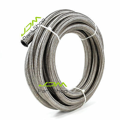AN6 6-AN Stainless Steel Braided Fuel Oil Gas Water Line Hose 1000 psi 5 Meter