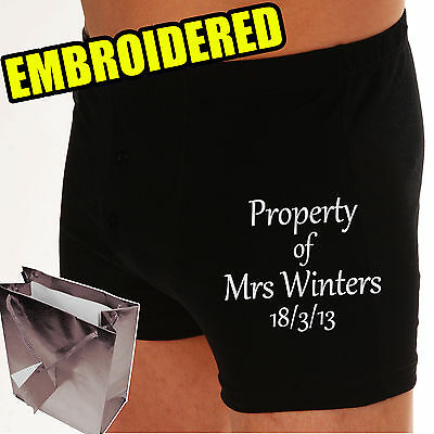 PERSONALISED Groom Wedding Boxer shorts PROPERTY OF..? or UNDER NEW MANAGEMENT