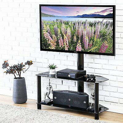 "Fitueyes Floor TV Stand with Swivel Mount  for 32-50"" TV glass component shelf"