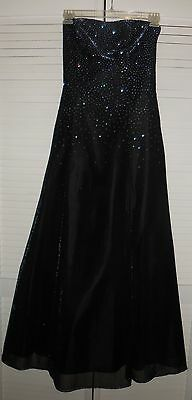 Onyx Nite Strapless Shimmering Black/Blueish Prom/Evening Gown Size 10~A-Line