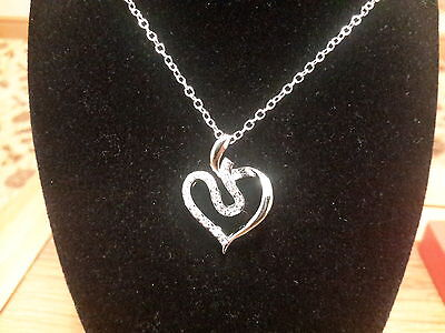 Brand new 925 stamped Silver Heart  Necklace and gift box Box