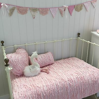 4 pc Pink Frill Lulu Shabby Chic Cot Quilt & 2 Cushion Nursery Crib Bedding Set