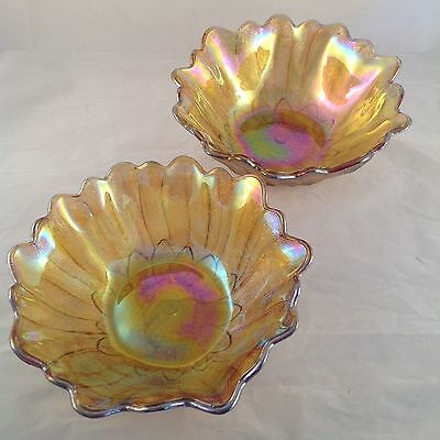 2x VINTAGE Lovely MARIGOLD CARNIVAL GLASS Sunflower BOWLS