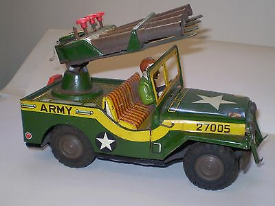 VINTAGE 1950s JAPANESE  TIN TOY ARMY JEEP