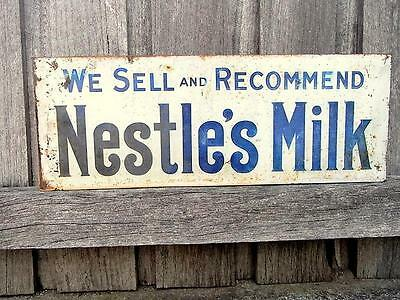 Genuine Old Tin Wall Advertising Shop Sign For  Nestle's Milk