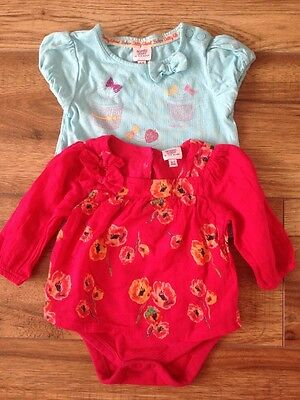 Ted baker Baby girls pink floral top Dress Tshirt 0-3 months Set Bundle Vest 6-9