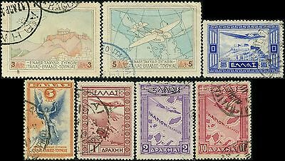 """GRECE/GREECE/HELLAS """"Air Mail"""" lot 7 timbres/stamps  1926-1933 Oblit/Used"""