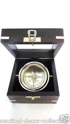 Vintage solid brass fancy nautical unique direction compass with wooden box